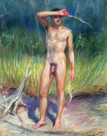 a man standing nude on the beach at the grass line