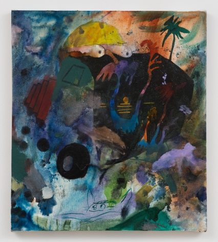 dark abstract painting with eyes and a palm tree
