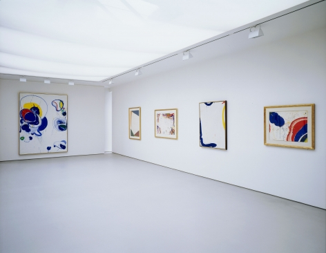 installation view with 5 works of art two large paintings and three framed drawings