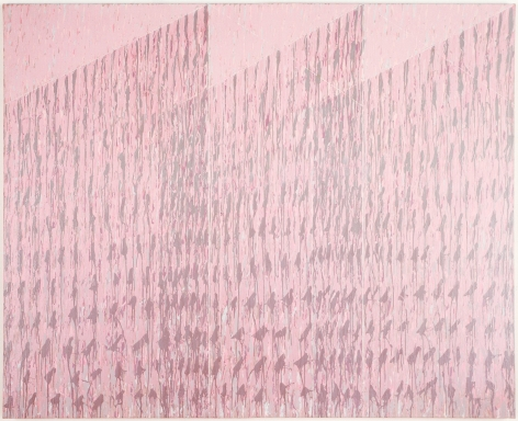 rectangular pink painting with three angular spaces emanating from the center