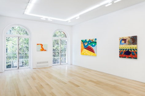 installation view of watercolor in a white room