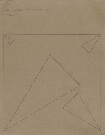 Four Triangles Within a Square, 1976, Pencil on paper, Framed Dimensions:31 3/4 x 24 1/4 inches (80.6 x 61.6 cm), © 2015 Robert Mangold / Artists Rights Society (ARS), New York