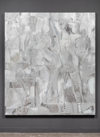 large square silver painting with figures moving through the surface