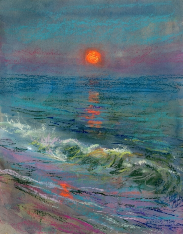 a drawing of a moonrise over the ocean
