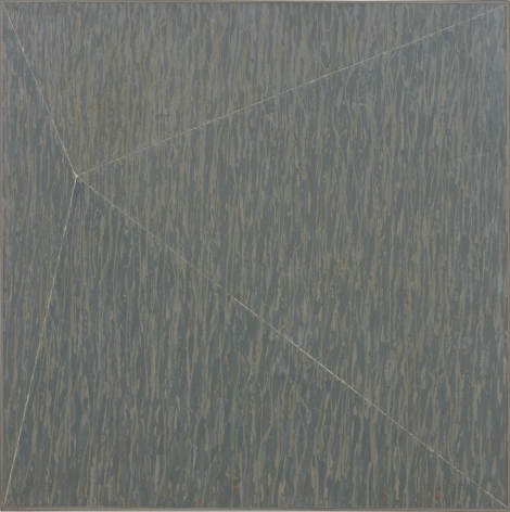 large square painting that is grey with a triangular white line running through it