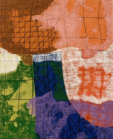 abstract painting on burlap