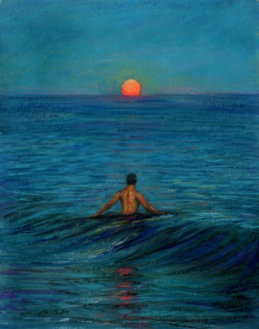 a man in the ocean as the moon rises over it