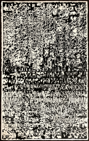 a large abstract ink and pencil drawing on paper