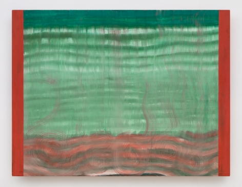 rectangular painting with red rectangles on the outside and swiggly green lines running horizontally between