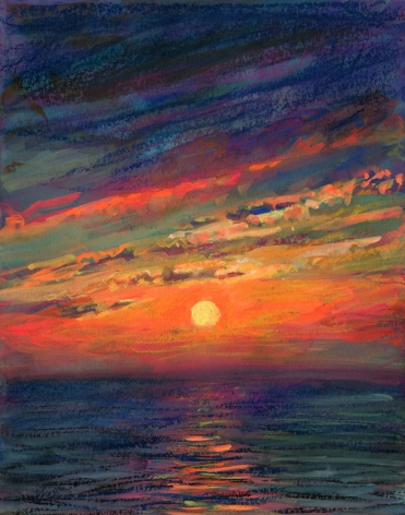 pastel drawing of a sunset over the ocean