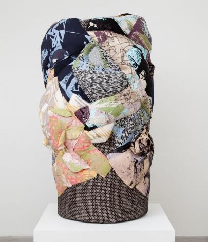 Whistle, 2015, Silkscreen on clothing, foam, steel support