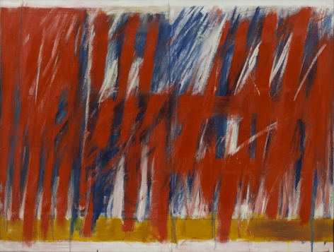red lyrical abstract painting
