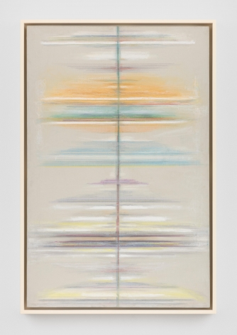 a grey/tan painting with horizontal lines of blue yellow and green emanating from its' center