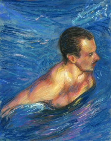 a drawing of a man in a pool