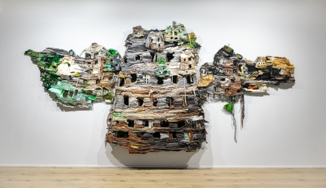 Ruby Chishti  The Present is a Ruin Without the People, 2016  Recycled textiles, wire mesh, thread, wood, embellishment, metal scrapes, and archival glue; with sound  82h x 128w x 12d in