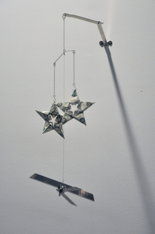 Abdullah M. I. Syed  Twinkle Twinkle Little Drone - IV  2016  Altered toy mobile, banknotes, stainless steel, plastic and metal wire  16 x 6 in