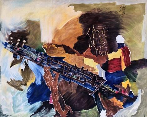 M. F. Husain (1913-2011)  Untitled (Sarod Player), c. 1970  Oil on canvas  39.75h x 49w in