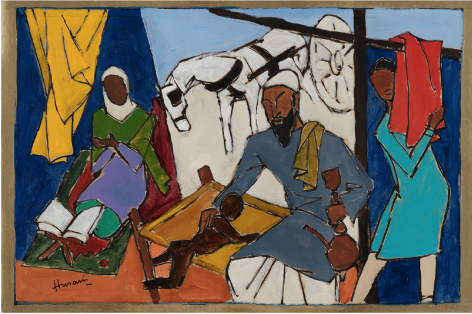 M.F. Husain  Untitled (Grandfather)  2000  Acrylic on canvas  26 x 40 in.