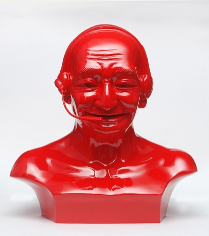 Debanjan Roy  India Shining 11 (Gandhi bust with headphones)  2009  Fiberglass and automotive paint  13 x 13 x 8 in