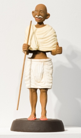 Debanjan Roy  Toy Gandhi 6 (Small Bobble Head), 2019  Silicone and automotive paint  16 x 8 x 8 in