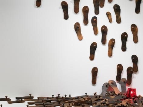 G. R. Iranna  Untitled (Paduka Installation) (Detail) 2013  Mixed media installation  Dimensions variable