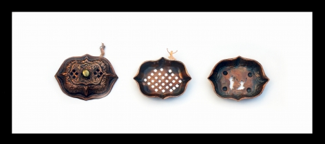 Affan Baghpati  Hold Me Close And Hold Me Fast, 2018  Sabun-dani (Soap dish); copper, brass, found objects, hand sawing, (casting, soldering, riveting)  12.5 x 26 x 3 in