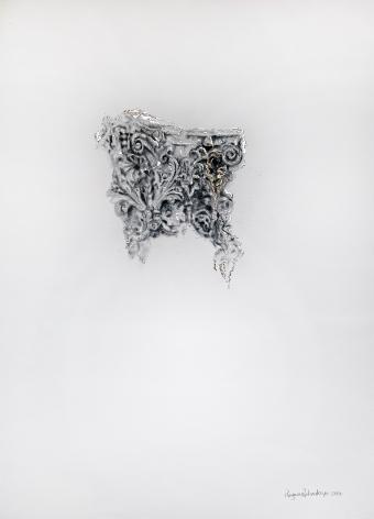 Najmun Nahar Keya  Corinthian Dhaka (27)  Charcoal, graphite, rabbit skin glue, copper, silver, on Fabriano archival paper  28 x 20  2019