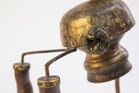 Affan Baghpati  I wonder as I pray (Detail), 2021  Assemblage, found objects, cast, brass, polymer resin, epoxy  8.6 x 8.26 x 4.3 in