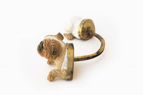 Affan Baghpati   A new cat in town (Detail), 2021  Assemblage, found objects, brass, polymer resin   2.36 x 7 x 3.5 in