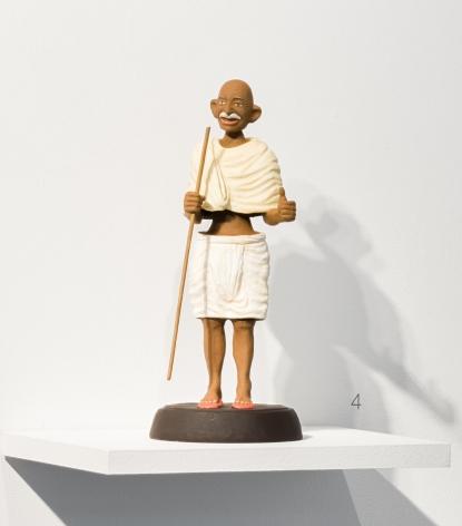 Debanjan Roy  Toy Gandhi 6 (Small Bobble Head)  2019  Clay, paper, cloth, and iron fibre  16 x 8 x 8 in.