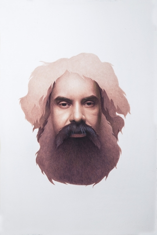 Irfan Hasan - Head of Ayaz Jokhio, Homage to Sani Ol Molk, Opaque water color on paper