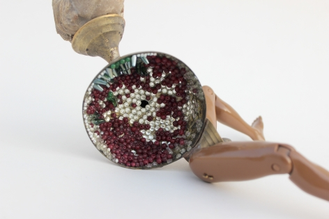 Affan Baghpati  You know I love you (Detail), 2021  Assemblage, found objects, cast, brass, polymer resin, epoxy, glass crystals, beads  9 x 8.66 x 6.7 in
