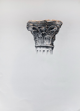 Najmun Nahar Keya  Corinthian Dhaka (23)  Charcoal, graphite, rabbit skin glue, copper, on Fabriano archival paper  28 x 20  2019