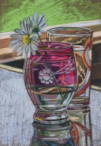 Daisies, 1973. Pastel on paper, 22 1/4 x 15 3/4 in.