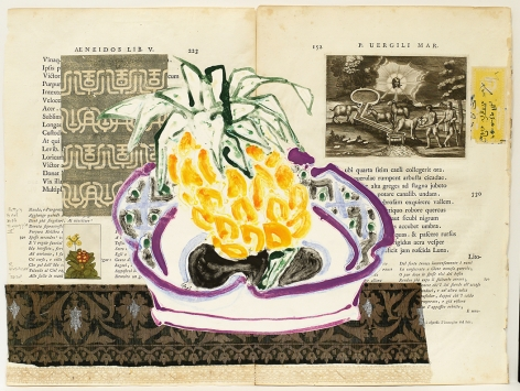 Betty's Bowl With Pineapple II, 2020, Acrylic, collage and fabric on antique book page