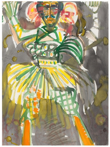 Carnival Stilt Walker, 1984-87, Watercolor and collage on paper