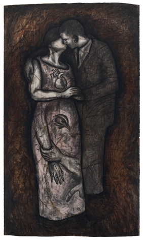 Our Kiss, 1990, Oil stick and charcoal on paper