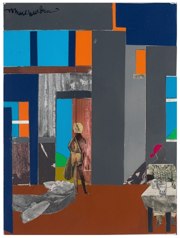 Blue Monday, 1969, Collage of various papers on fiberboard, mounted to plywood