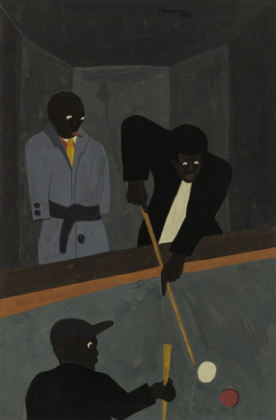 Pool Players, 1938, Tempera on brown paper