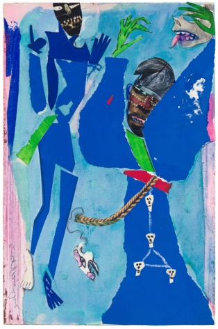 Bayou Fever, The Blue Demons, 1979, Collage, acrylic, and pencil on fiberboard