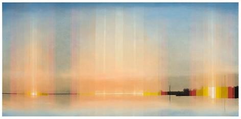Still, 2012 Oil on linen in the artist's handmade frame, 25 1/4 x 43 1/4 inches framed