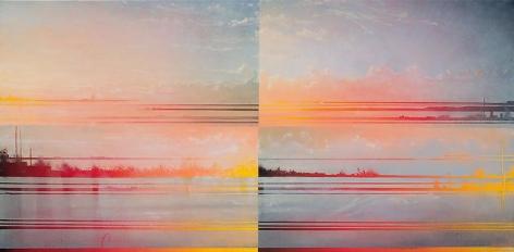 Estuary, 2013 Oil on board in the artist's handmade frame, 18 x 30 inches framed