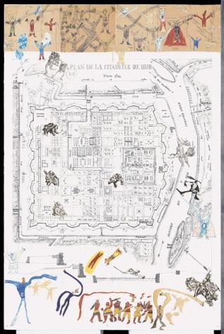 Boys' Art #15: The Citadel of Hué, 2001-02, Mixed media on paper
