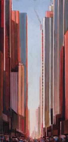 Midtown, 2013 Oil on board in the artist's handmade frame