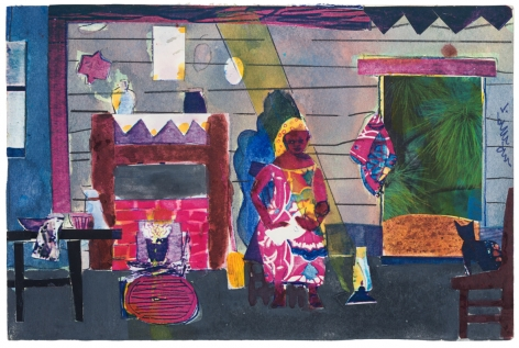Bayou Fever, Untitled (Wife and Child in Cabin), 1979, Collage, pencil, and acrylic on fiberboard
