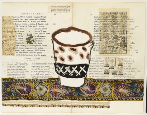 Betty's Tea Cup I, 2020, Acrylic, collage and fabric on antique book page