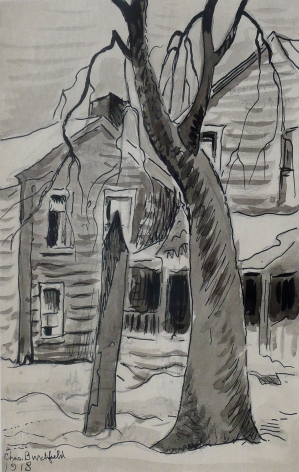 Two Houses in Winter, 1918, Ink and graphite on paper