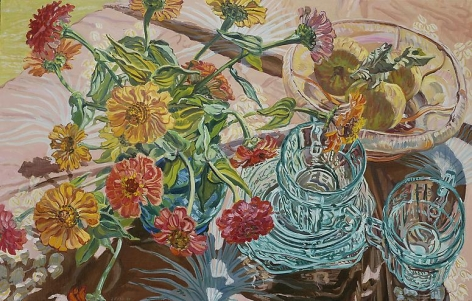 Green Cups, Zinnias, 2001