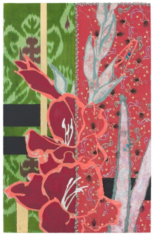 Red Gladiolus- Red and Green, 2017, Oil, acrylic, gold leaf, paper, silk, embroidery, sequins, and beads on panel