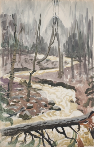 Yellow Torrent In the Woods Near Hepatica Hollow, 1952
